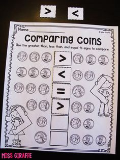 Comparing coins by amount using greater than less than equal to symbols and other really great ideas for teaching money Money Games For Kids, Money Activities, Work Activities, Teaching Time, Student Teaching, Primary Teaching, Teaching Resources, Teaching Ideas, Math Classroom