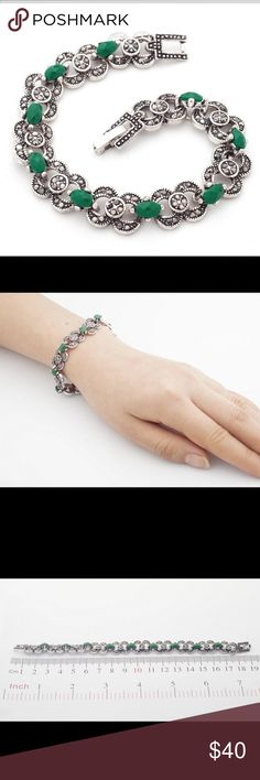 """Hematite Silver Malachite Bracelet Stunning marcasite and malachite 14K white gold plated bracelet is very rich looking. Overlock closure.  Measures a little over 1/4"""" wide. Curvy Couture Jewelry Bracelets"""