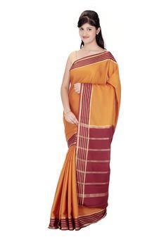 Mysore Sari Crepe Burnt Orange Buy Now @ Rs.3,900.00  #Sari #Sarees #Fashiontra #WomensFashion