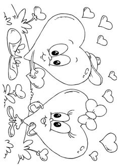 Coloring Page Valentine hearts - free printable coloring pages Valentine Coloring Pages, Heart Coloring Pages, Free Coloring Sheets, Cute Coloring Pages, Coloring Pages To Print, Coloring For Kids, Printable Coloring Pages, Coloring Books, Valentine Heart