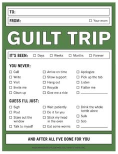 Guilt Trip Nifty Note - A Notepad for Subtle Shaming by Knock Knock Guilt Trips, Paper Cards, Knock Knock, The Funny, Funny Farm, Funny Humor, Nifty, Just In Case, Things To Think About