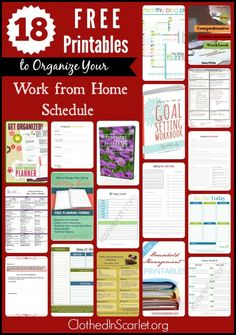 Do you struggle as a work at home mom keeping the different areas of life organized?  Keeping track of  business projects, blog posts, articles on other sites, and on top of that, things to be done at home for the family..! Here are 18 FREE printables which I am sure will help you organize your Work from Home schedule..