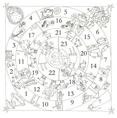 Circular Advent Calendar--would be fun to make our own version using the Jesse Tree images Advent Activities, Christmas Activities, Christmas Printables, Christmas Projects, Holiday Crafts, Christmas Calendar, Christmas Countdown, Christmas And New Year, Winter Christmas