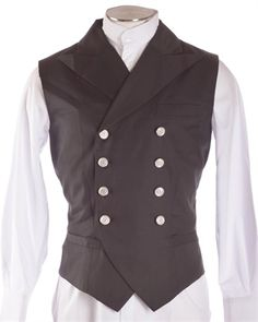 Picture of Steampunk Victorian Double-Breasted Waistcoat Vest - Black