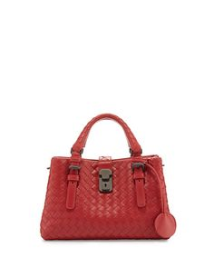 BOTTEGA VENETA Roma Small Woven Leather Satchel Bag. #bottegaveneta #bags #shoulder bags #hand bags #lining #satchel #suede #