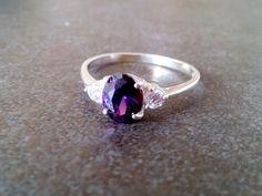 VENTE ! Trois pierre anneau, Bague amethyste, bague en argent, bague de promesse, artisanal bague, bague de fiançailles, mariage, bijoux de mariée