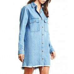 Frayed chambray dress Thick Jean material.. Tried on but never worn Forever 21 Dresses Long Sleeve