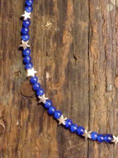 Blue+Beaded+Necklace+with+Silver+Stars+by+TarasExpressions+on+Etsy,+$26.00