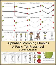 This FREE 20 page Stomping Alphabet tot pack includes: Prewriting Solid Line, Prewriting Dashed Line, Which is Different, 2 Piece Puzzles, Color