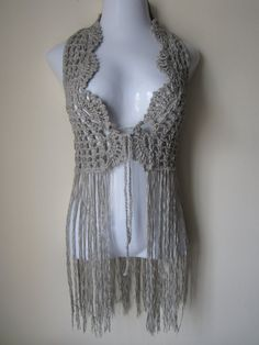 Crochet vest, Elongated Fringes, festival, gypsy, Boho, carnival. $72.00, via Etsy.