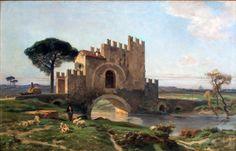 Dipinto ad olio su tela raffigurante una veduta con Ponte Nomentano in primo piano e Roma sullo sfondo a destra. Cornice in legno dorato coeva.  Firmato in basso a destra Jules Laurens (1825-1901)  Dimensioni cm 47×73  Stato di conservazione ottimo
