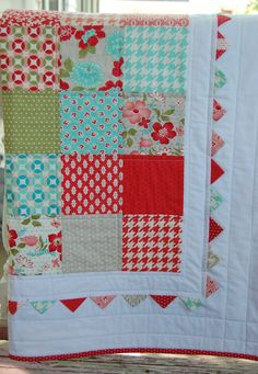 Vintage Modern Baby Quilt -  Patchwork Quilt - Baby Blanket - Modern Baby Quilt - Quilted Blanket - Moda Vintage Modern. $125.00, via Etsy....awesome Etsy site for baby girl nursery