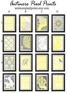 Mellow Yellow Grey White Vintage / Modern by antinoropixelprints, $55.00