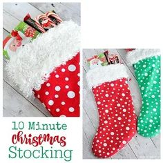 Tutorial: 10 Minute Christmas Stocking – Sewing Christmas Sewing Projects, Christmas Crafts, Christmas Decorations, Holiday Decor, Holiday Ideas, Sewing Patterns Free, Free Sewing, Sewing Tutorials, Christmas Stocking Pattern