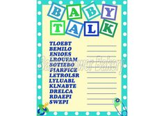 See which baby shower guest can unscramble the baby related words first with this baby boy shower game! $5.00 #baby #shower #boy #game #printable #word #scramble #blue #green