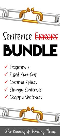This bundle covers the most annoying sentence errors in students' writing. It contains presentations, worksheets, and a quiz. Perfect for middle and high school classrooms. Different presentation and student note options available for differentiation. 6th Grade Writing, High School Writing, High School Classroom, 4th Grade Reading, English Classroom, Middle School, Grammar And Punctuation, Teaching Grammar, Teaching Writing