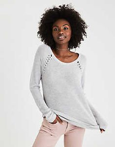 AEO Shoulder-Stitch Sweater, Heather Gray | American Eagle Outfitters