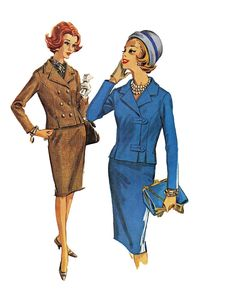1960s McCalls 6482 -Womens Suit -Slim Pencil Skirt & Double Breasted, Asymmetrical Closure Jacket -Size 14/Bust 34 -Uncut Vintage Pattern on Etsy, $15.00