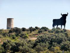 """#Málaga - #Fuengirola - El Toro 36º 33' 29"""" -4º 36' 47"""" /El Toro de Osborne es una enorme silueta publicitaria de un toro bravo de lidia que tiene unos 14 metros de altura, y fue utilizada en un principio para anunciar el brandy Veterano, del Grupo Osborne (de ahí deriva el sobrenombre). Estas vallas se emplazaron en 1958 en distintos puntos del territorio español cerca de las carreteras, quedando en contraste con el horizonte para que se divisaran mejor."""
