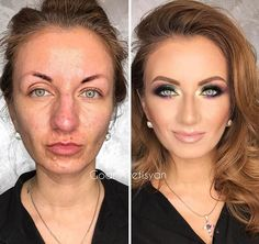 "30 Incredible Makeup Transformations That Prove ""Every Woman Is A Hollywood Star"" Makeup might not heal wounds but it can help people live with them. And that's exactly what Armenia-born and Moscow-based beauty guru Goar Avetisyan specializes Fair Skin Makeup, Contour Makeup, Face Contouring, Airbrush Makeup, Natural Wedding Makeup, Natural Makeup, Amazing Makeup Transformation, Beauty Skin, Makeup Tips"