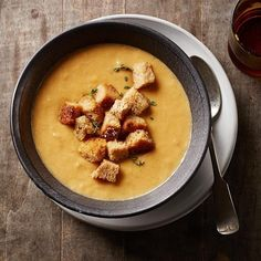 This healthy cauliflower soup recipe gets its great flavor from two smoked ingredients--paprika and Gouda. A hearty serving of crunchy croutons makes it filling.