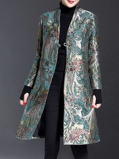 Plus Size Elegant Long Sleeve Floral Stand Collar Jacquard Coat Iranian Women Fashion, Muslim Fashion, Modest Fashion, Hijab Fashion, African Fashion, Fashion Dresses, Couture Fashion, Batik Blazer, Blouse Batik