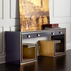 Deco  Black and Gold    Black and Gold Hooker Furniture Langley Console