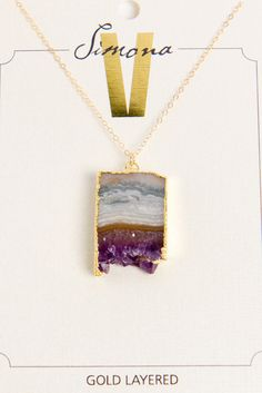 Simona V Amethyst Slice Necklace
