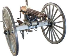 The Gatling Gun, named after its inventor Richard J. Gatling, was the first machine gun in history. By turning a crank, crews would feed bullets into a rotating series of 6 barrels that could fire at a rate of 600 rounds per minute. While an important innovation, less than 20 were ever actually used in the war and even then, only in the function of an artillery piece.