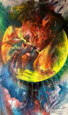 A fine art painting by Jakub Kujawa of a romantic couple kissing