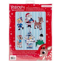 """Dimensions Rudolph Ornaments Plastic Canvas Cross Stitch Kit-5.25"""" Tall 14 Count Set Of 6"""