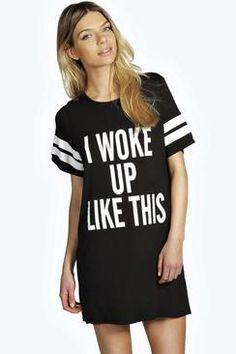Boohoo: Tia I woke Up Like This Oversized Tee Night Dress