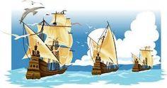 Los 3 barcos La Niña, La Pinta , y La Santa María.