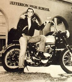 "Hemry Winkler as ""The Fonz"" on a Triumph"