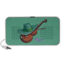 St Patricks Day Hat & Violin Mini Speaker by #MoonDreamsMusic #MiniSpeaker #StPatricksDay #HatAndViolin #GreenAndBrown