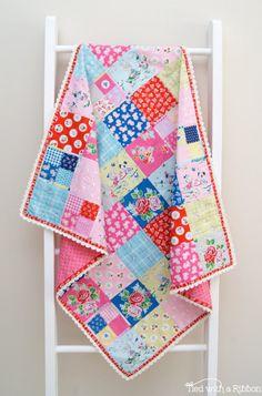 Crochet Trim Blanket PDF Quilt pattern  by tiedwitharibbon on Etsy