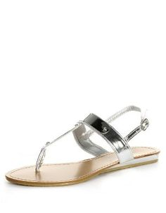 Metal Cap Thong Sandals SIlver