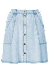 Denim Look Button Through Skirt