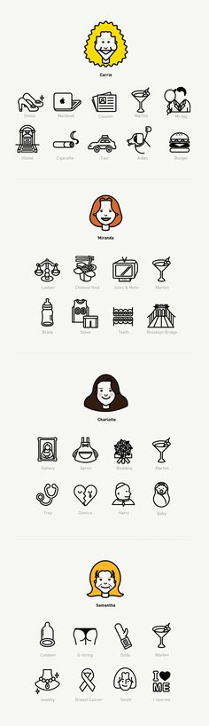 This work is an icon set of the each character on the 'SEX AND THE CITY' which…