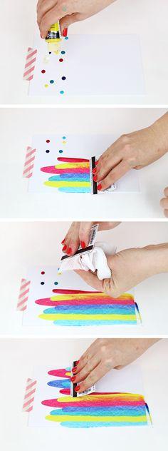 DIY: paint scrape art