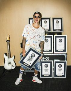 READ: Justin Bieber scores eight titles in Guinness World Records 2017 Edition - http://www.guinnessworldrecords.com/news/2016/8/justin-bieber-scores-eight-titles-in-guinness-world-records-2017-edition-441436 .