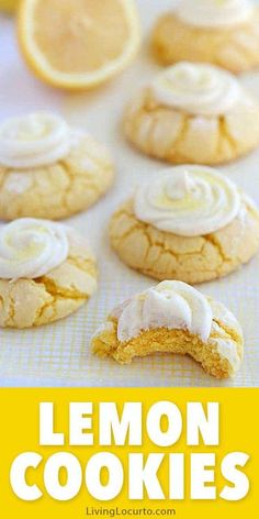 Easy lemon cookies recipe with homemade lemon frosting. Soft and fluffy lemon crinkle cake mix cookies! THE BEST Melt in your mouth Lemon Cookies. #cookies #lemon Mini Desserts, Cookie Desserts, Easy Desserts, Dessert Recipes, Pudding Recipes, Party Recipes, Cake Mix Cookie Recipes, Cake Mix Cookies, Cookies Et Biscuits