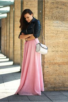 Discover this look wearing Bubble Gum Handmade Skirts, Black Cropped Asos Jackets - Pink maxi by Chaba styled for Elegant, Everyday in the Spring Handmade Skirts, Pink Maxi, Chic, Dress Skirt, Fashion Photography, Style Inspiration, Long Dresses, Maxi Dresses, My Style
