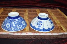 "Two Asian Porcelain Blue and White Floral Design Rice Bowls 4 5/8""x2 1/8"" #Asian #Unknown"