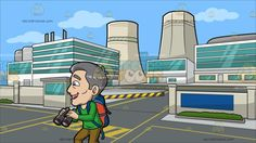 An Excited Mature Male Tourist At A Nuclear Power Plant:  A mature man with gray hair wearing a green sweatshirt light brown pants red with white sneakers blue with orange backpack parts his lips to smile in delight as he holds a gray with red binoculars. Set in entrance to a nuclear power plant with modern buildings that feature long green glass windows two big gray chimneys at the back a walled border with a guard house and yellow with black barrier gray roads with yellow markers.