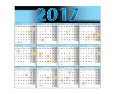 Calendário 2017 em pdf vetor