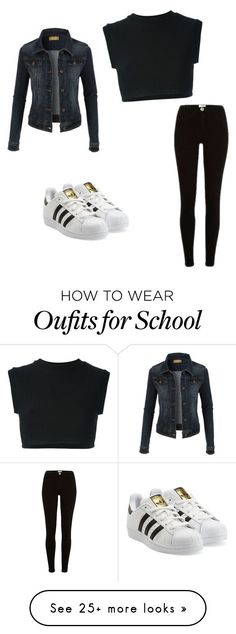 #school #outfitideas by marysfashionn on Polyvore featuring adidas Originals and LE3NO - amzn.to/2h2jlyc