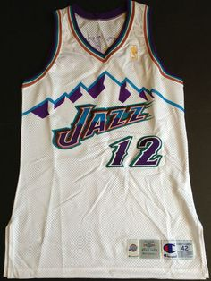 502a7642b Vtg John Stockton Utah Jazz Champion Pro-cut Game Issued Jersey Gold 50th  Team
