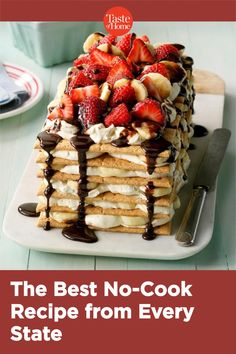Eat your way across the country—no cooking required! No Bake Summer Desserts, Just Desserts, Summer Recipes, Summer Cakes, Frozen Desserts, Icebox Cake Recipes, Dessert Recipes, Banana Split Icebox Cake Recipe, Cheesecake Recipes