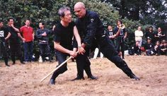 Soke showing a technique on Sveneric at the UK Taikai 1987.